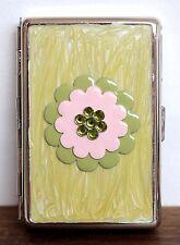"ELEGANT METAL STEEL GREEN FLOWER ENAMEL BUSINESS CARD HOLDER CASE BOX 4x2.5""x3/4"