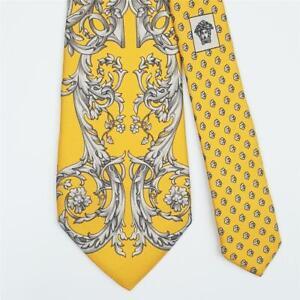 VERSACE TIE Floral & Swirl Vine on Yellow Skinny Silk Necktie