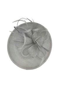 Ladies Day Races Royal Ascot Silver Fascinator Wedding Hat Headband & Clip UK