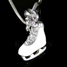 w Swarovski Crystal 3D Ice figure Skating Hockey Shoe Skates Charm Necklace Xmas