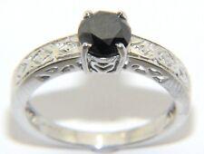 Ladies Womens 9ct 9carat White Gold & Black Diamond Engagement Ring UK Size N