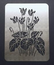 Cyclamen Winter Flower Stainless Steel Metal Stencil Emboss Template 11cm x 8cm