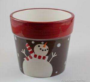 Floral Frosty The Snowman Christmas Pot