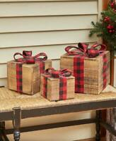 Set of 3 Rustic Wooden Christmas Present Gift Box Holiday Decor