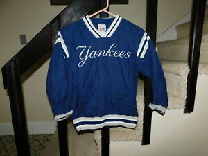 NEW YORK YANKEES MAJESTIC YOUTH BOYS SIZE 10/12 Nylon Pullover Jacket LINED