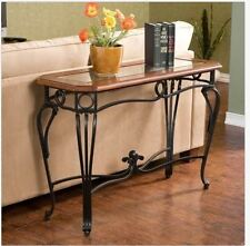 Sofa Console Table Glass & Metal Cherry Wood Scrolled Elegant Entryway Furniture