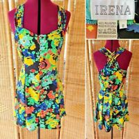 Vintage 1980 Irena Tropical Bold Cross Back Button Front Strapless Short Dress 8