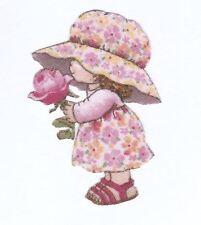 Patch Thermocollant en tissu Petite Fille chapeau Fleur Rose Girl & Rose