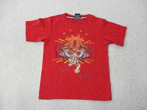 VINTAGE JNCO Shirt Youth Medium Red Orange Skater Skateboard Skating Kids Boys *