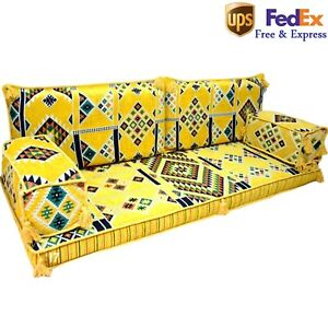 Arabic Floor Sofa Set Turkish Jalsa Oriental Seating Yellow Bohemian Set FOAM
