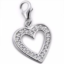 Silvadore Cuore Taglio Cz Cristallo 925 argento Sterling Charm a Clip Bracciale 43