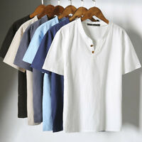 Man Cotton Linen Short Sleeve V-Neck T-shirt Blouse Tee Solid Tops Fit Summer