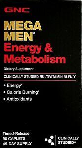GNC MEGA MEN ENERGY & METABOLISM 90 CAP MULTIVITAMIN DIETARY SUPPLEMENT 05/2023