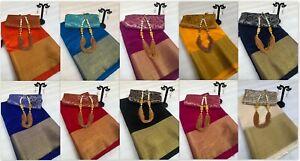 Sari Kanjivaram Style Tussar Silk Saree Party Wear Indian Fancy Designer  KK