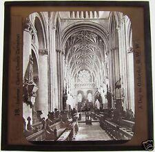 GWW Glass Magic lantern slide INTERIOR CHRIST CHURCH CATHEDRAL C1900 OXFORD