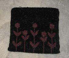 Vintage Seed Bead Black Pink Flowers Clutch Evening Bag Purse Zipper Lined CUTE