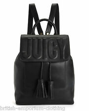 JUICY COUTURE Black Embossed Leather LAUREL Backpack Bag Rucksack BNWT