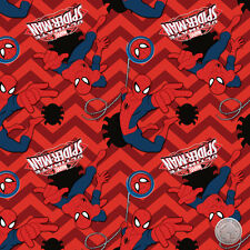 Marvel Ultimate Spider-Man II Ruby Chevron Cotton Fabric by the Yard Super Hero