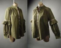 Olive Drab Green Ruffle Balloon Bubble Bishop Sleeve Top Shirt 236 Blouse S M L