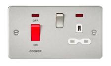 Chrome brossé écran plat 45 A DP 13 A Switched Socket, IP20 NEON, Blanc Insert