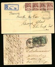 GOLD COAST 1912  POST CARD & 1929 KGVI REG. COVER TO SCOTLAND & GERMANY. A415