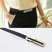 PU Leather Women's Lady Skinny Narrow Thin Buckle Waist Belt Waistband Strap New
