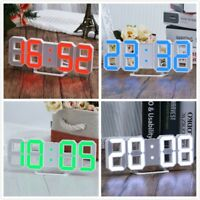 3D Morden LED Digital Wall Clock Table Desk Night Alarm Snooze Clock 12/24h Time