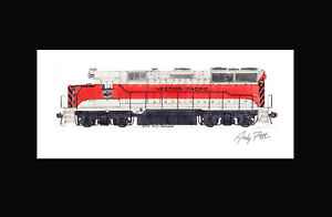 """Western Pacific GP35 11""""x17"""" Matted Print Andy Fletcher signed"""