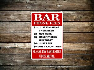 Bar phone rules funny Metal Novelty Sign OR Sticker Your Choice