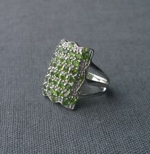 SOLID 925 STERLING SILVER CHROME DIOPSIDE HUGE CLUSTER RING SIZE P