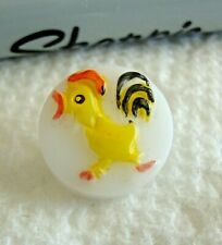"""Vintage Glass Kiddie Button YELLOW ROOSTER 9/16"""""""