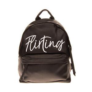 RRP€305 CHIARA FERRAGNI Backpack Large Grainy Embroidered 'Flirting' Zip Closure