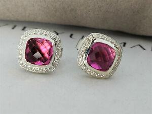 David Yurman Sterling Silver Petite Albion Earrings Pink Tourmaline & Diamonds