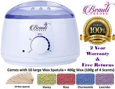 Hair Removal Hot Wax Electric Warmer Waxing Kit + 400g Hard Wax beans & 10Stick