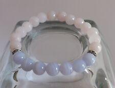 Faceted Rose Quartz Blue Lace Agate 8mm AA Grade Gemstone Bracelet