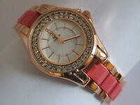NY London Ladies Mother of Pearl Dial Crystal Bezel Rose Gold Tone Fashion Watch