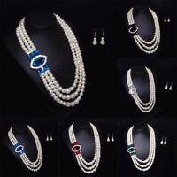 Women Pendant Chain Choker Pearl Statement Bib Crystal Necklace Jewelry