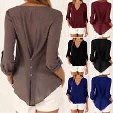 Women 3/4 Sleeve Crew Neck OL Office Work Wear Casual Chiffon Blouse Top T Shirt