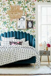 """anthropologie """"Tufted Makers"""" Queen Quit White With Black Poms"""