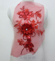 1Piece 3D Flower Embroidered Tulle Sequin Crystal Lace Applique/Patch~Red~Sew On