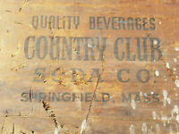 vintage COUNTRY CLUB SODA CO.Wood Crate Box SPRINGFIELD, MASS Quality Beverages