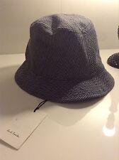 Bnwt 100% AUTH Paul Smith Da Uomo blu a righe Bucket Hat. S