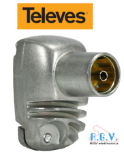 Connettore antenna TV presa femmina per cavo IEC 90° professionale TELEVES 4133