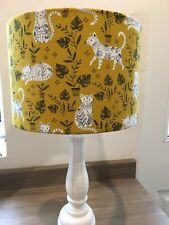 Mustard 30cm Lamp or Ceiling Shade in a John Lewis Fabric 'Cool Cats'