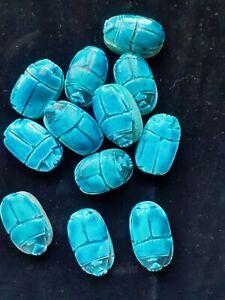 Nice Pharaonic Egyptian Blue Faience Scarab Bead, Hieroglyphs Beads, Jewelry