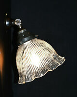 Vintage 1950 bronze & prismatic ribbed holophane glass tilting wall light scone