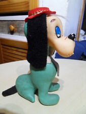 Vintage Peluche doudou leather plush dog chien en cuir toys 60.70's