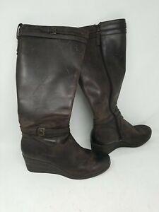 UGG Women's Irmah Boots Brown Wedge Knee High Waterproof Zip 1003362 Sz11