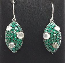 Sterling Silver Green Emerald Cluster Milky Quartz Marquise Dangle Hook Earrings