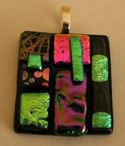"""HANDMADE DICHROIC + ART GLASS FREEFORM PENDANT :"""" THINK of THE BIGGER PICTURE"""""""""""